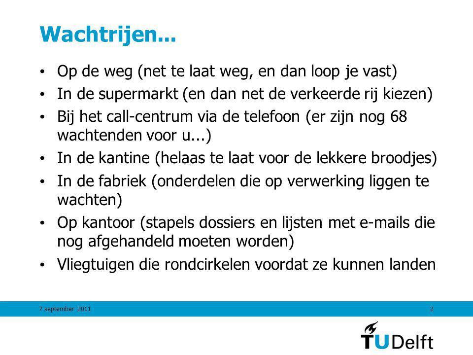 7 september 201133 Gemiddelde # klanten in wachtrij: Lq prestatiecriteria Little's vergelijking voor de wachtrij Totaal # klanten in systeem Bezettingsgraad server