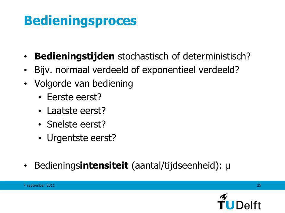 7 september 201125 Bedieningsproces Bedieningstijden stochastisch of deterministisch.