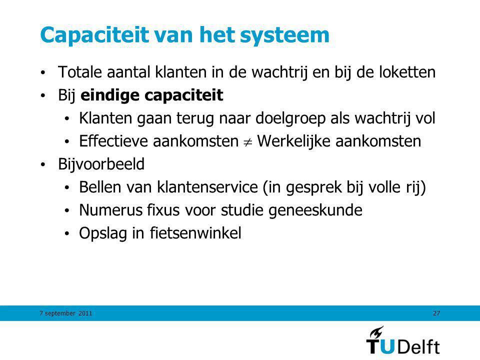 7 september 201127 Capaciteit van het systeem Totale aantal klanten in de wachtrij en bij de loketten Bij eindige capaciteit Klanten gaan terug naar d