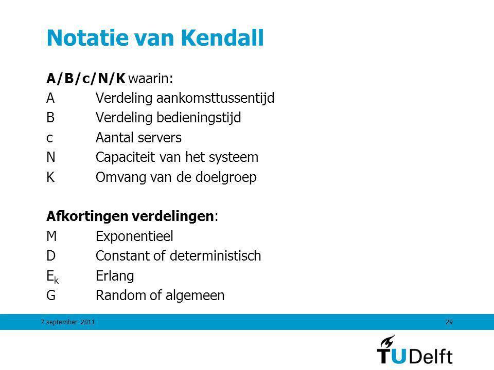 7 september 201129 Notatie van Kendall A/B/c/N/K waarin: AVerdeling aankomsttussentijd BVerdeling bedieningstijd cAantal servers NCapaciteit van het s