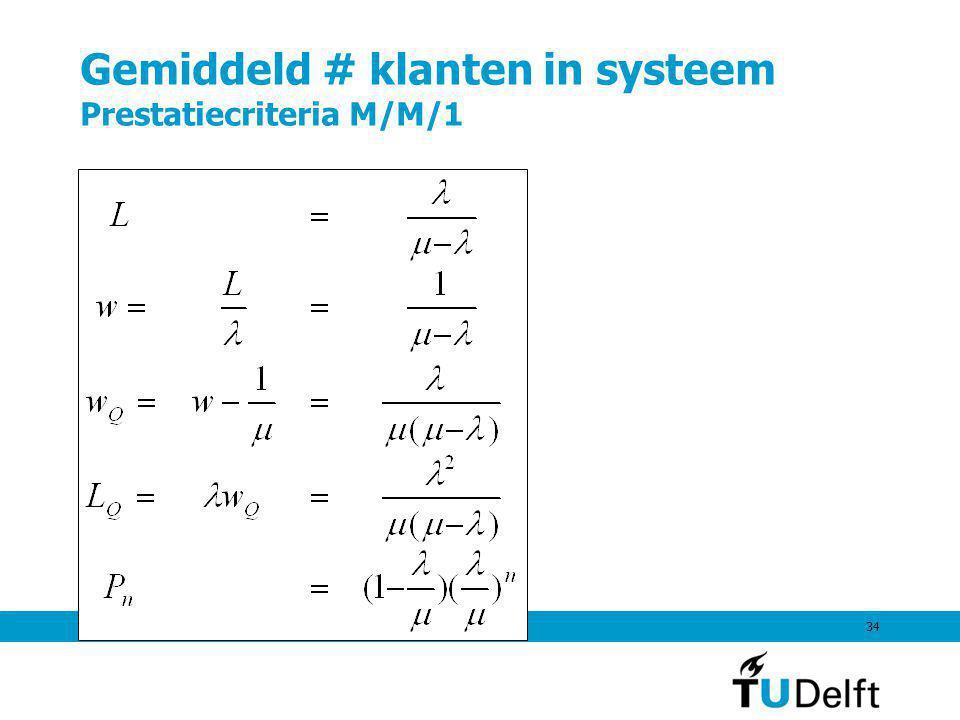 7 september 201134 Gemiddeld # klanten in systeem Prestatiecriteria M/M/1