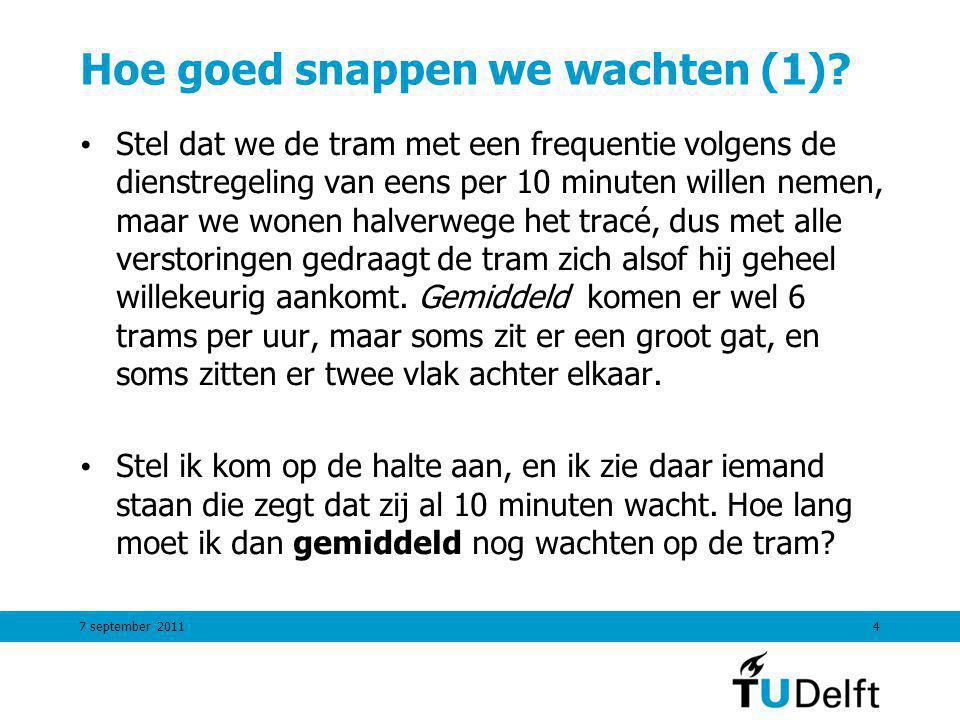7 september 20114 Hoe goed snappen we wachten (1)? Stel dat we de tram met een frequentie volgens de dienstregeling van eens per 10 minuten willen nem