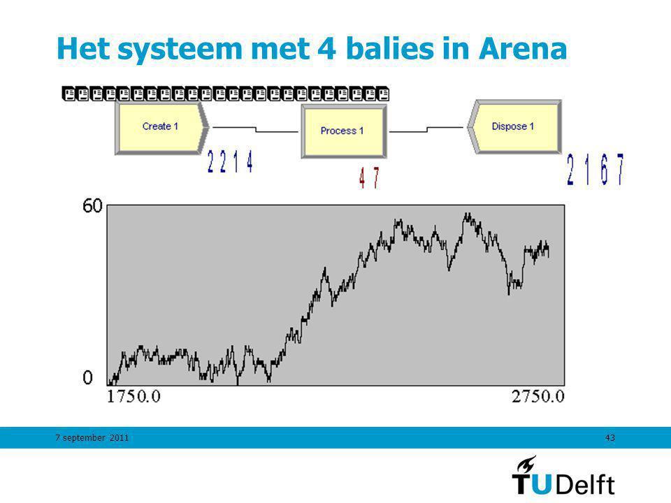 7 september 201143 Het systeem met 4 balies in Arena