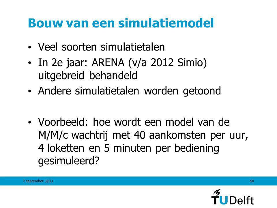 7 september 201148 Bouw van een simulatiemodel Veel soorten simulatietalen In 2e jaar: ARENA (v/a 2012 Simio) uitgebreid behandeld Andere simulatietal