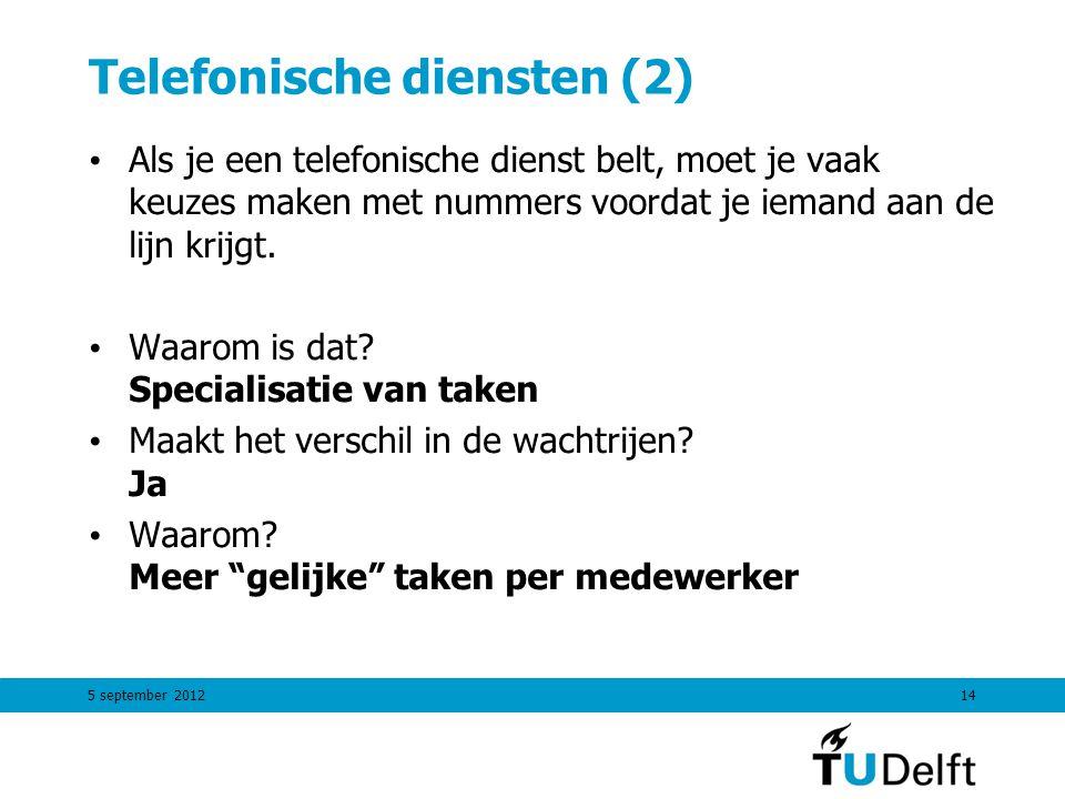 Telefonische diensten (2) Als je een telefonische dienst belt, moet je vaak keuzes maken met nummers voordat je iemand aan de lijn krijgt. Waarom is d