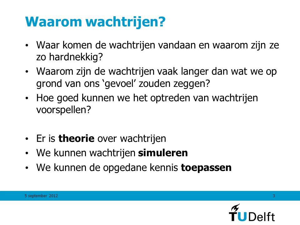 5 september 201244 Berekende waarden  bezettingsgraad0.83 P 0 kans op 0 klanten in systeem3 % Lgem.
