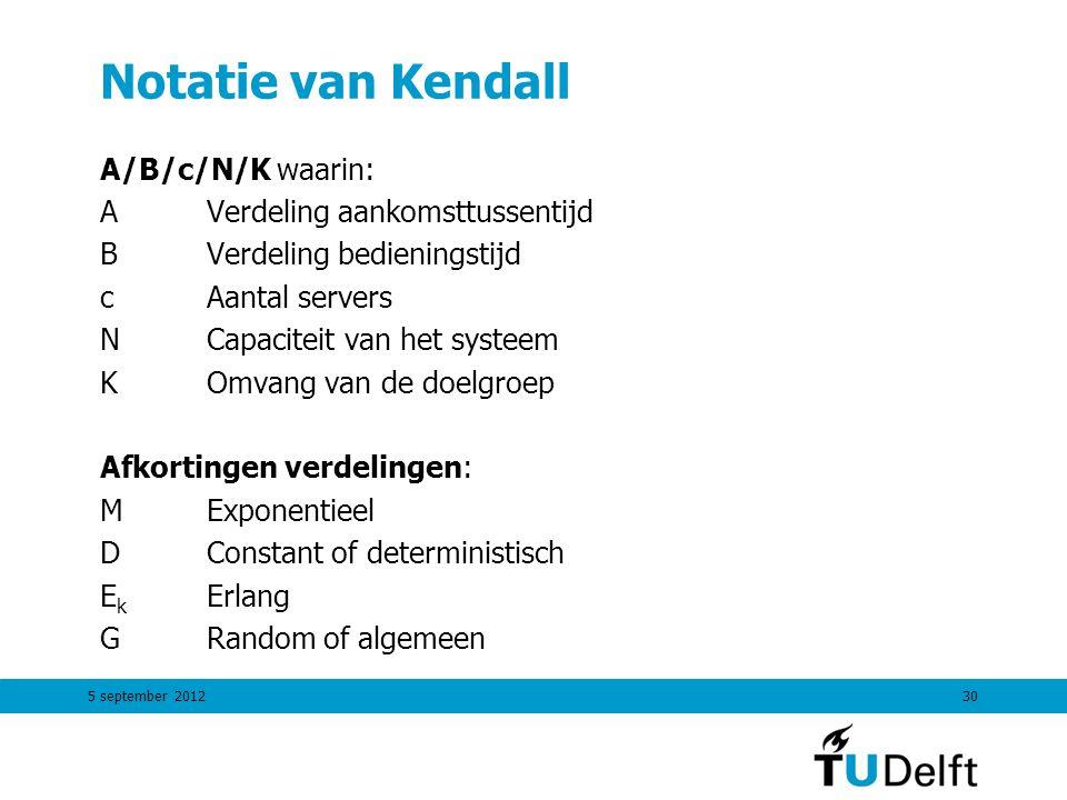 5 september 201230 Notatie van Kendall A/B/c/N/K waarin: AVerdeling aankomsttussentijd BVerdeling bedieningstijd cAantal servers NCapaciteit van het s