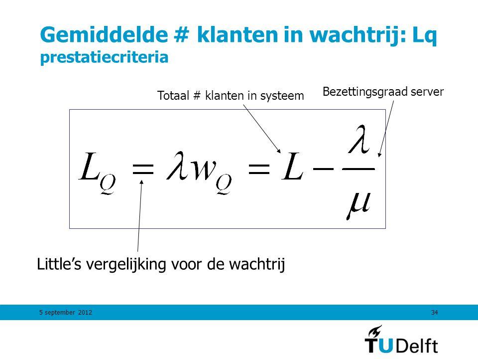 5 september 201234 Gemiddelde # klanten in wachtrij: Lq prestatiecriteria Little's vergelijking voor de wachtrij Totaal # klanten in systeem Bezetting