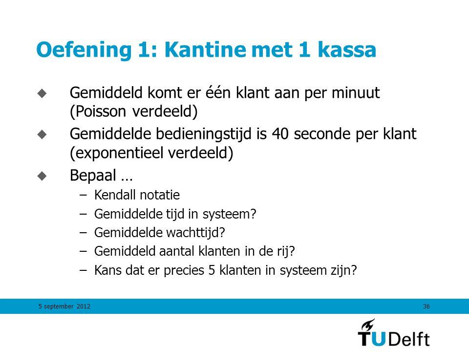 5 september 201236 Oefening 1: Kantine met 1 kassa u Gemiddeld komt er één klant aan per minuut (Poisson verdeeld) u Gemiddelde bedieningstijd is 40 s