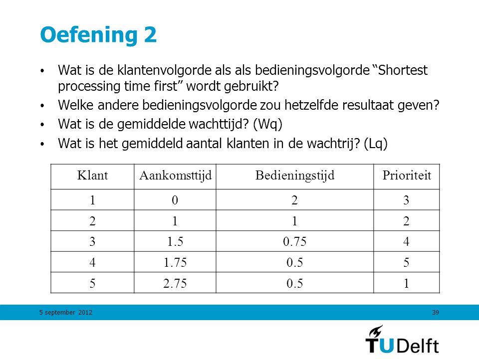 """5 september 201239 Oefening 2 Wat is de klantenvolgorde als als bedieningsvolgorde """"Shortest processing time first"""" wordt gebruikt? Welke andere bedie"""