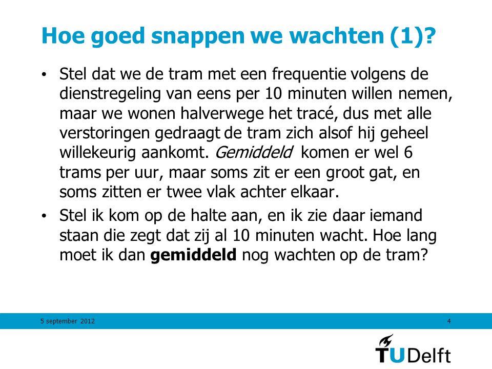 5 september 20124 Hoe goed snappen we wachten (1)? Stel dat we de tram met een frequentie volgens de dienstregeling van eens per 10 minuten willen nem