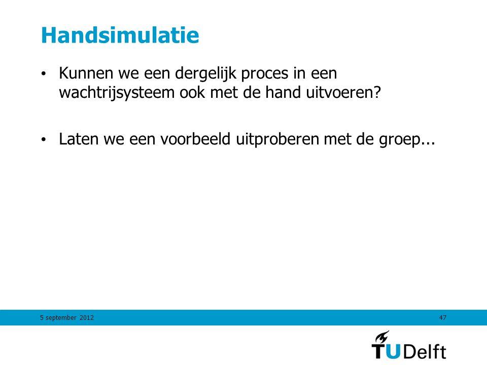 5 september 201247 Handsimulatie Kunnen we een dergelijk proces in een wachtrijsysteem ook met de hand uitvoeren? Laten we een voorbeeld uitproberen m