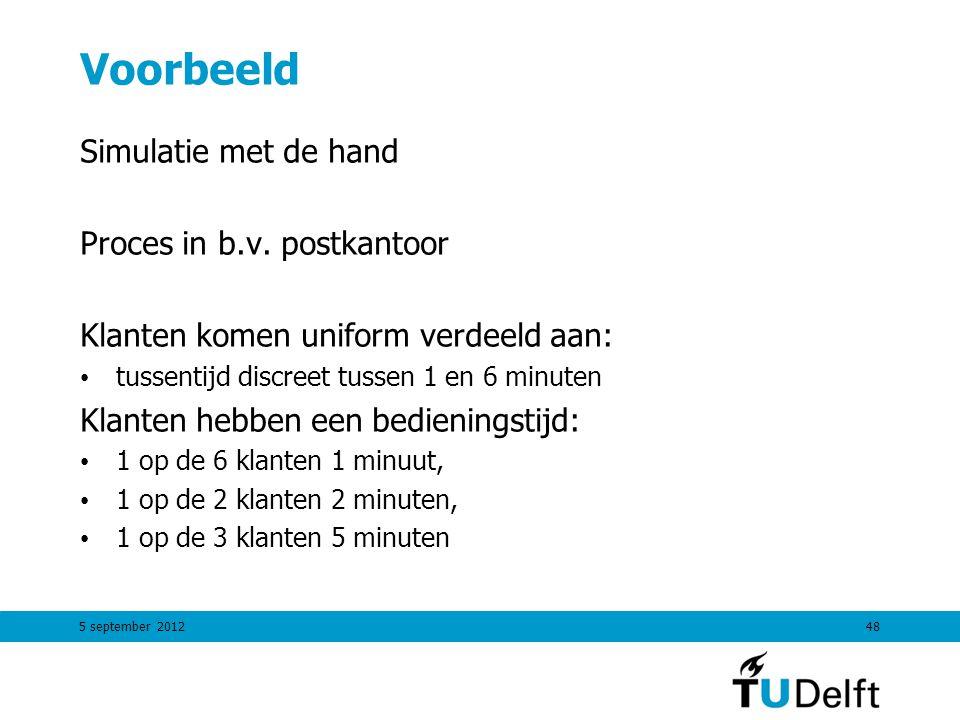 5 september 201248 Voorbeeld Simulatie met de hand Proces in b.v. postkantoor Klanten komen uniform verdeeld aan: tussentijd discreet tussen 1 en 6 mi