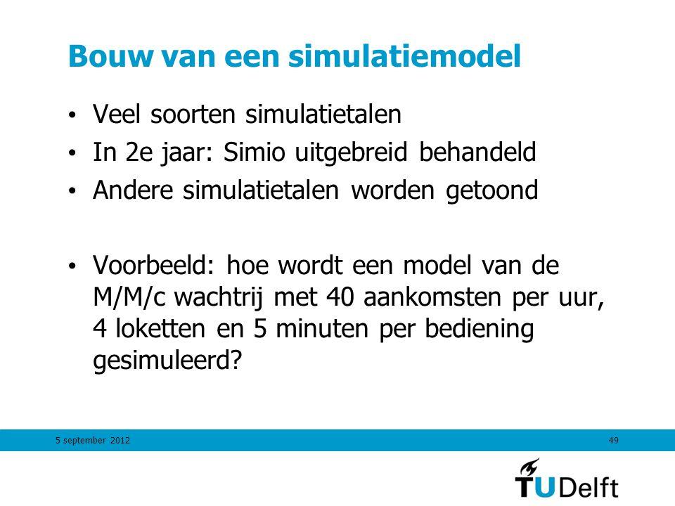 5 september 201249 Bouw van een simulatiemodel Veel soorten simulatietalen In 2e jaar: Simio uitgebreid behandeld Andere simulatietalen worden getoond