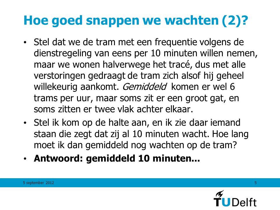 5 september 20125 Hoe goed snappen we wachten (2)? Stel dat we de tram met een frequentie volgens de dienstregeling van eens per 10 minuten willen nem