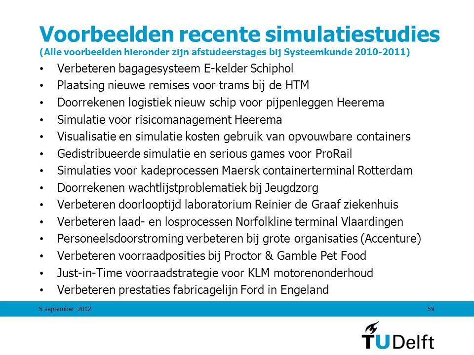 59 Voorbeelden recente simulatiestudies (Alle voorbeelden hieronder zijn afstudeerstages bij Systeemkunde 2010-2011) Verbeteren bagagesysteem E-kelder