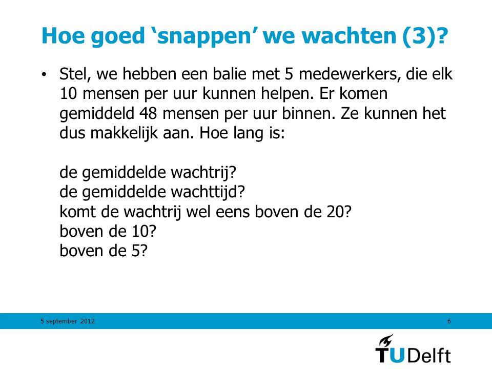 5 september 20126 Hoe goed 'snappen' we wachten (3)? Stel, we hebben een balie met 5 medewerkers, die elk 10 mensen per uur kunnen helpen. Er komen ge
