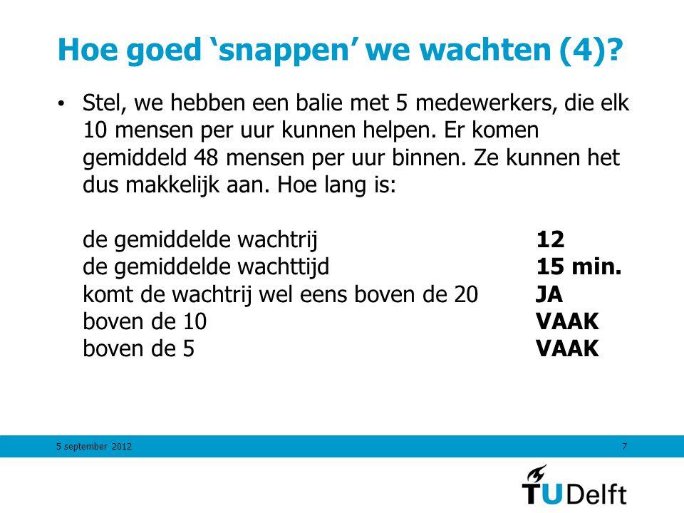 5 september 20127 Hoe goed 'snappen' we wachten (4)? Stel, we hebben een balie met 5 medewerkers, die elk 10 mensen per uur kunnen helpen. Er komen ge