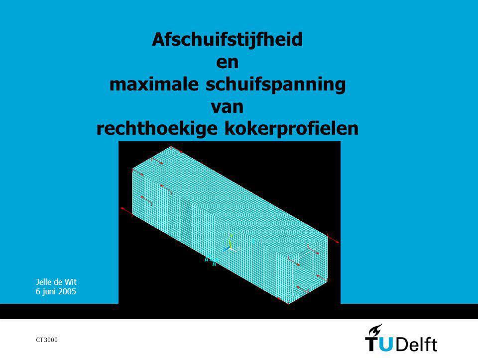 juni 20052 Inhoud Inleiding Probleemstelling Modellering Afschuifstijfheid Maximale schuifspanning Aanbevelingen