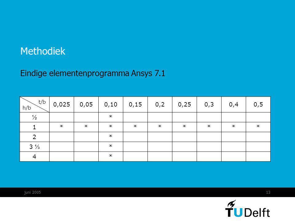 juni 200513 Methodiek t/b h/b 0,0250,050,100,150,20,250,30,40,5 ½ * 1********* 2 * 3 ⅓ * 4 * Eindige elementenprogramma Ansys 7.1