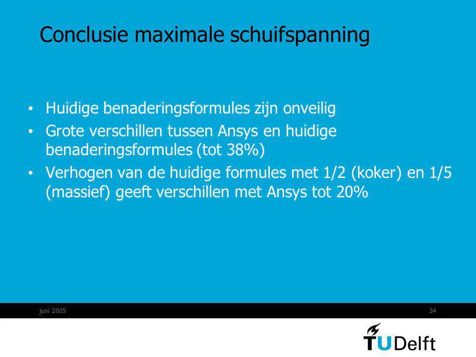 juni 200534 Conclusie maximale schuifspanning Huidige benaderingsformules zijn onveilig Grote verschillen tussen Ansys en huidige benaderingsformules