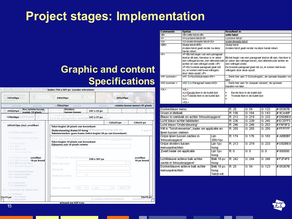 15 Project stages: Implementation Graphic and content Specifications