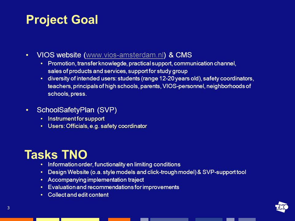 3 Project Goal VIOS website (www.vios-amsterdam.nl) & CMSwww.vios-amsterdam.nl Promotion, transfer knowlegde, practical support, communication channel, sales of products and services, support for study group diversity of intended users: students (range 12-20 years old), safety coordinators, teachers, principals of high schools, parents, VIOS-personnel, neighborhoods of schools, press.
