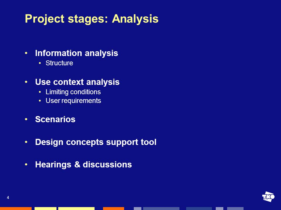 4 Project stages: Analysis Information analysis Structure Use context analysis Limiting conditions User requirements Scenarios Design concepts support tool Hearings & discussions