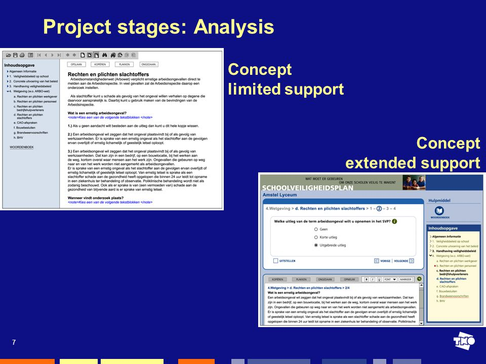 7 Project stages: Analysis Concept limited support Concept extended support