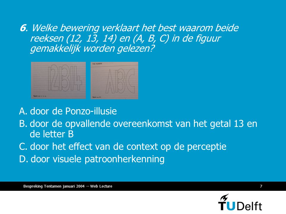 Bespreking Tentamen januari 2004 -- Web Lecture7 6.