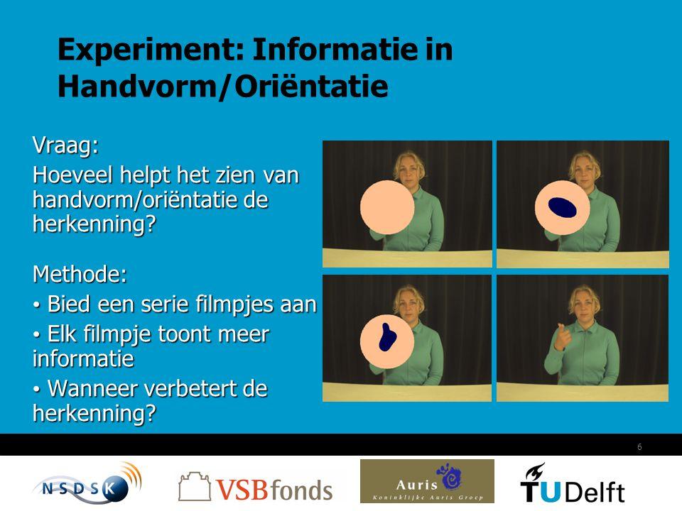6 Experiment: Informatie in Handvorm/Oriëntatie Vraag: Hoeveel helpt het zien van handvorm/oriëntatie de herkenning? Methode: Bied een serie filmpjes