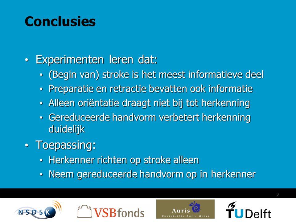 8 Conclusies Experimenten leren dat: Experimenten leren dat: (Begin van) stroke is het meest informatieve deel (Begin van) stroke is het meest informa