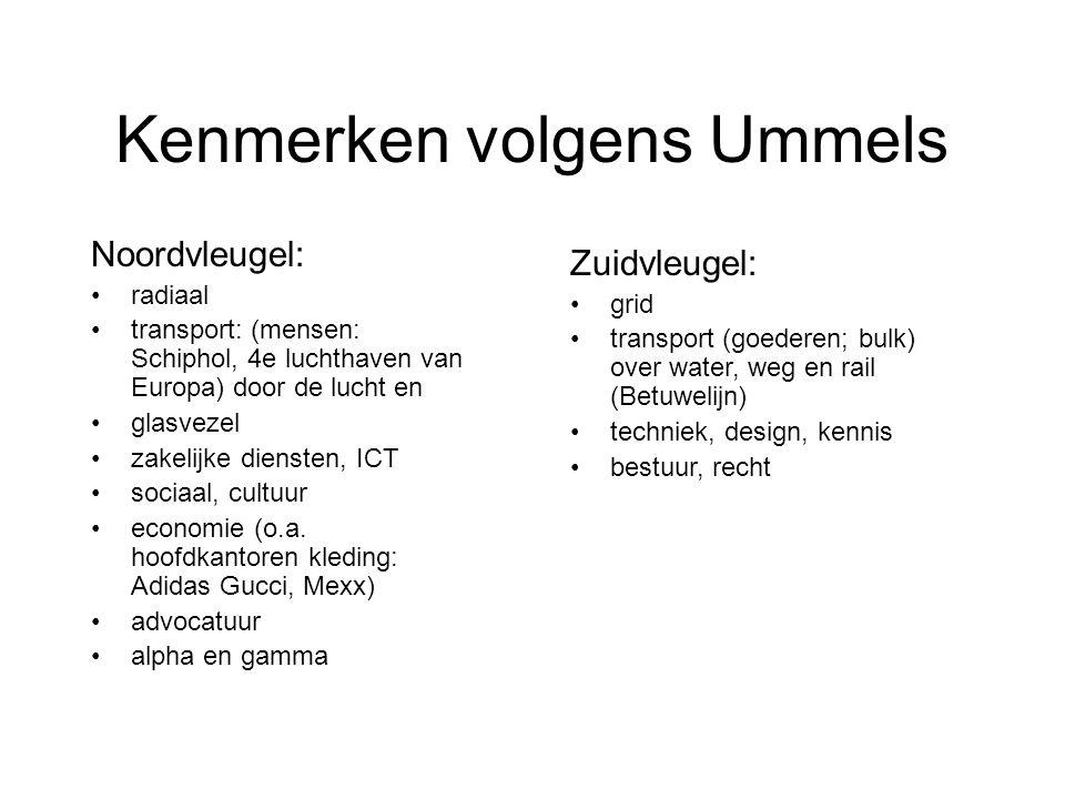 Kenmerken volgens Ummels Noordvleugel: radiaal transport: (mensen: Schiphol, 4e luchthaven van Europa) door de lucht en glasvezel zakelijke diensten, ICT sociaal, cultuur economie (o.a.