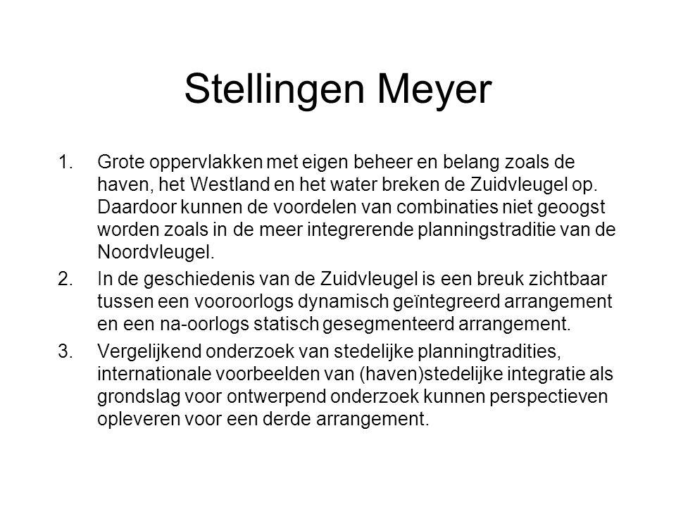 Stellingen Meyer 1.Grote oppervlakken met eigen beheer en belang zoals de haven, het Westland en het water breken de Zuidvleugel op.