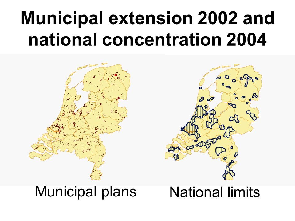 Municipal extension 2002 and national concentration 2004 Municipal plans National limits