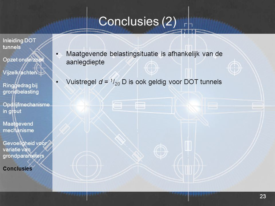 23 Conclusies (2) Maatgevende belastingsituatie is afhankelijk van de aanlegdiepte Vuistregel d = 1 / 20 D is ook geldig voor DOT tunnels Inleiding DO