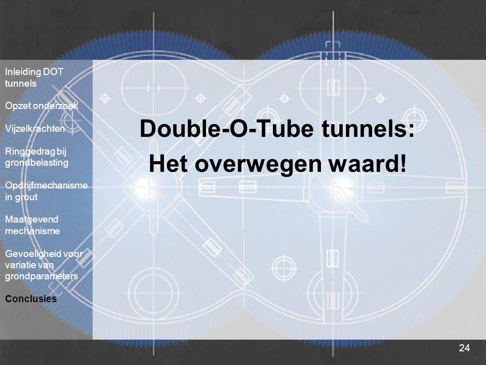 24 Double-O-Tube tunnels: Het overwegen waard! Inleiding DOT tunnels Opzet onderzoek Vijzelkrachten Ringgedrag bij grondbelasting Opdrijfmechanisme in