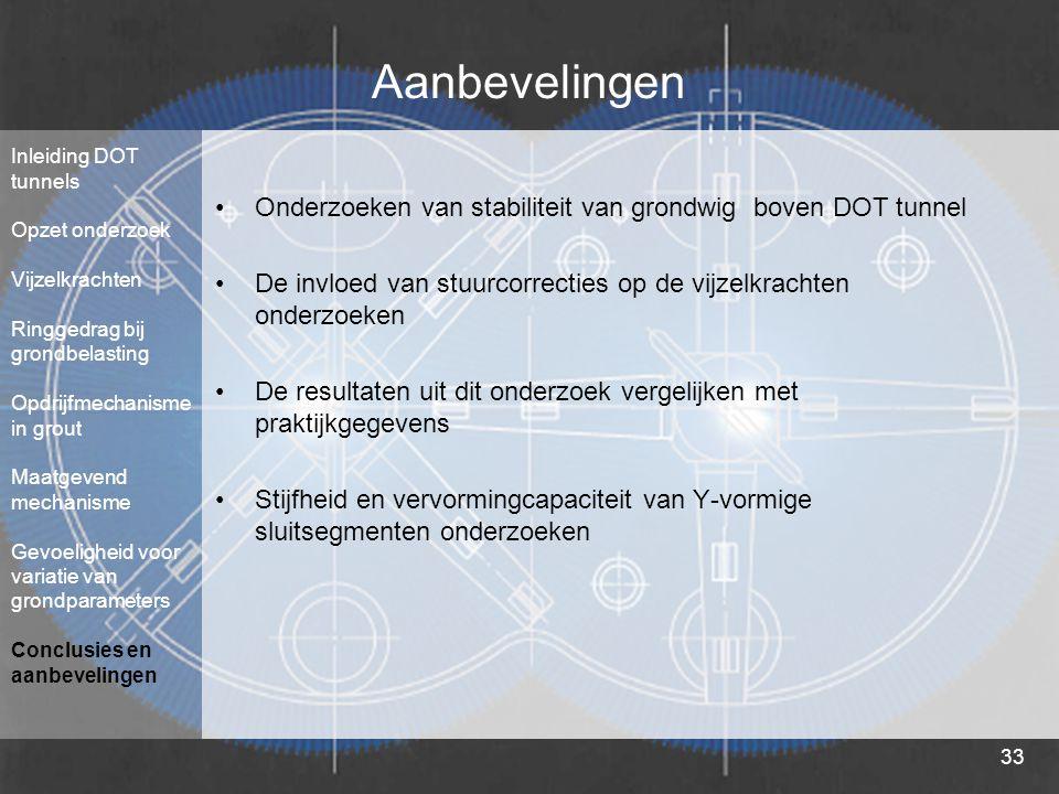 33 Aanbevelingen Onderzoeken van stabiliteit van grondwig boven DOT tunnel De invloed van stuurcorrecties op de vijzelkrachten onderzoeken De resultat