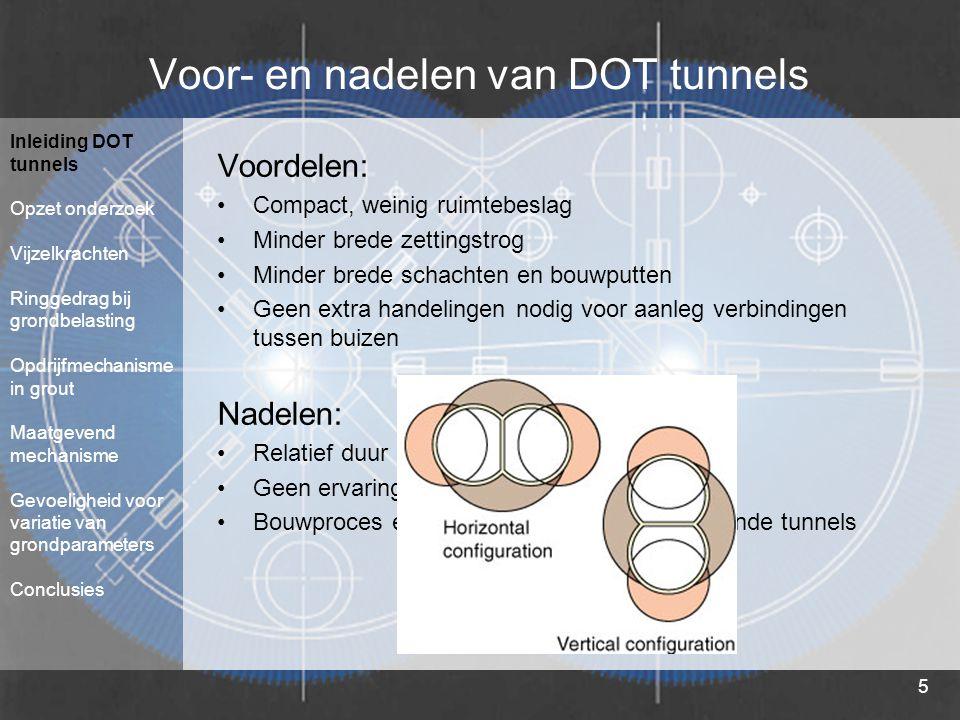 5 Voor- en nadelen van DOT tunnels Voordelen: Compact, weinig ruimtebeslag Minder brede zettingstrog Minder brede schachten en bouwputten Geen extra h