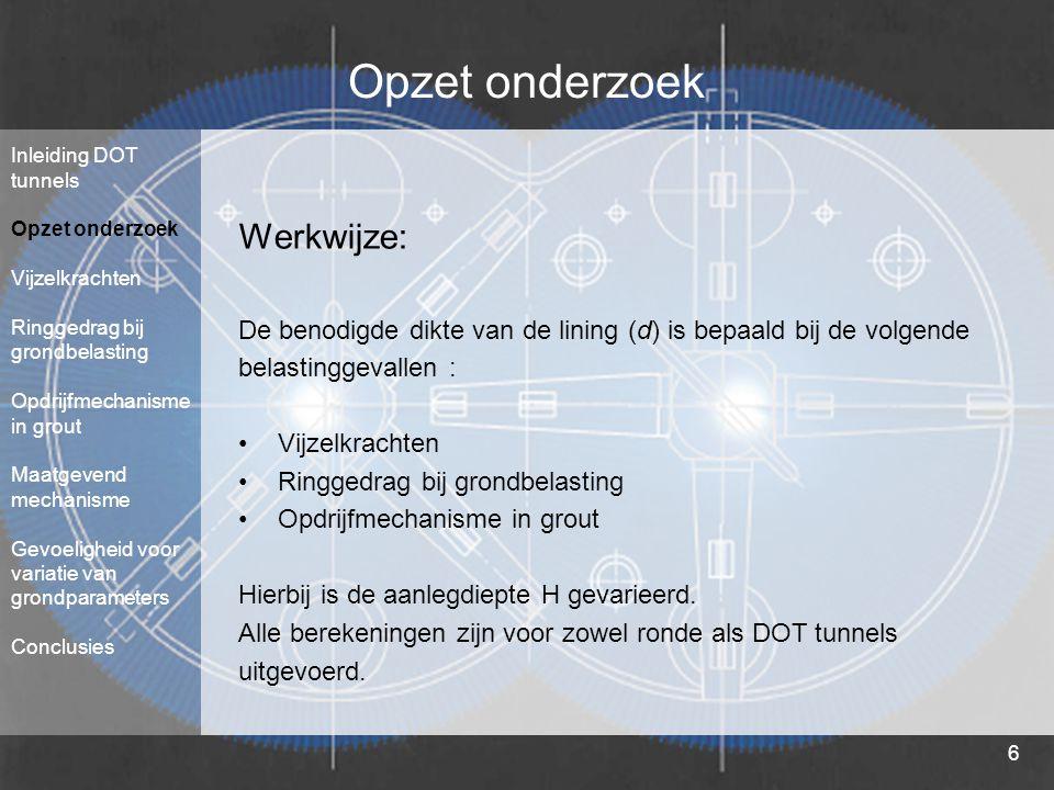 6 Opzet onderzoek Werkwijze: De benodigde dikte van de lining (d) is bepaald bij de volgende belastinggevallen : Vijzelkrachten Ringgedrag bij grondbe