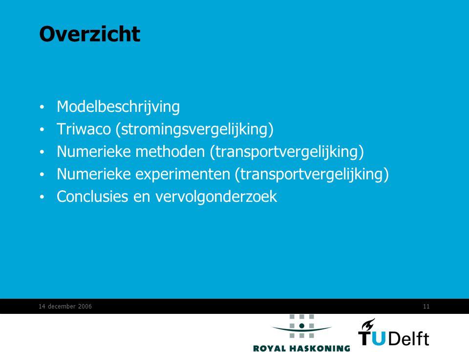 14 december 200611 Overzicht Modelbeschrijving Triwaco (stromingsvergelijking) Numerieke methoden (transportvergelijking) Numerieke experimenten (transportvergelijking) Conclusies en vervolgonderzoek