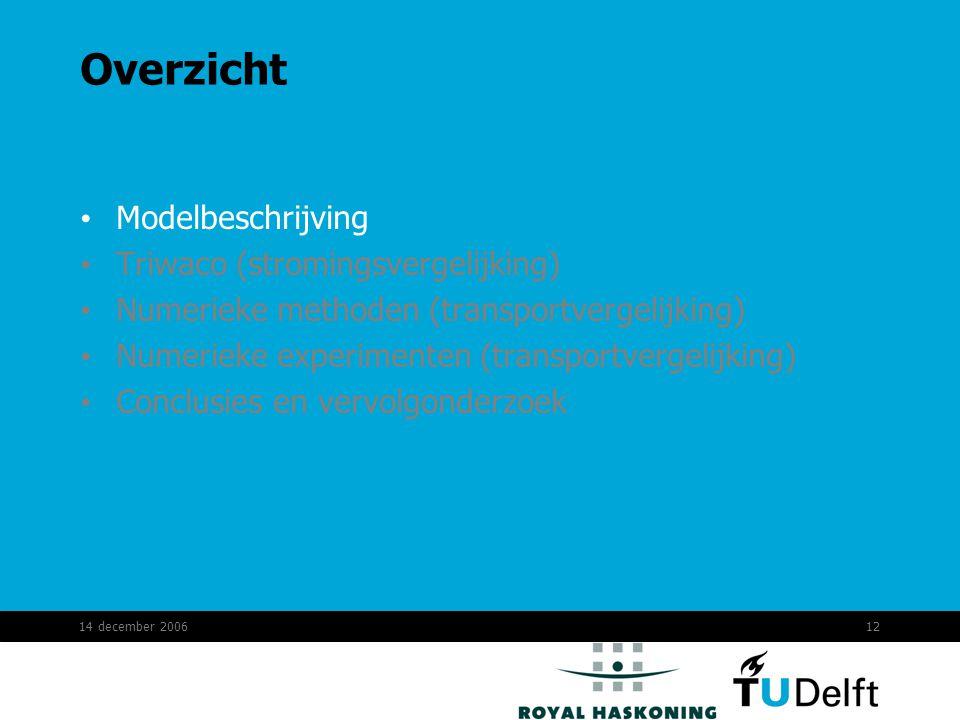 14 december 200612 Overzicht Modelbeschrijving Triwaco (stromingsvergelijking) Numerieke methoden (transportvergelijking) Numerieke experimenten (transportvergelijking) Conclusies en vervolgonderzoek