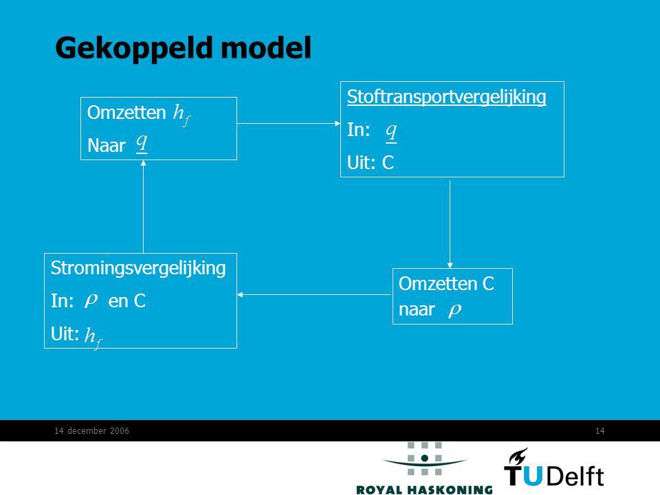 14 december 200614 Gekoppeld model Stromingsvergelijking In: en C Uit: Omzetten Naar Stoftransportvergelijking In: Uit: C Omzetten C naar