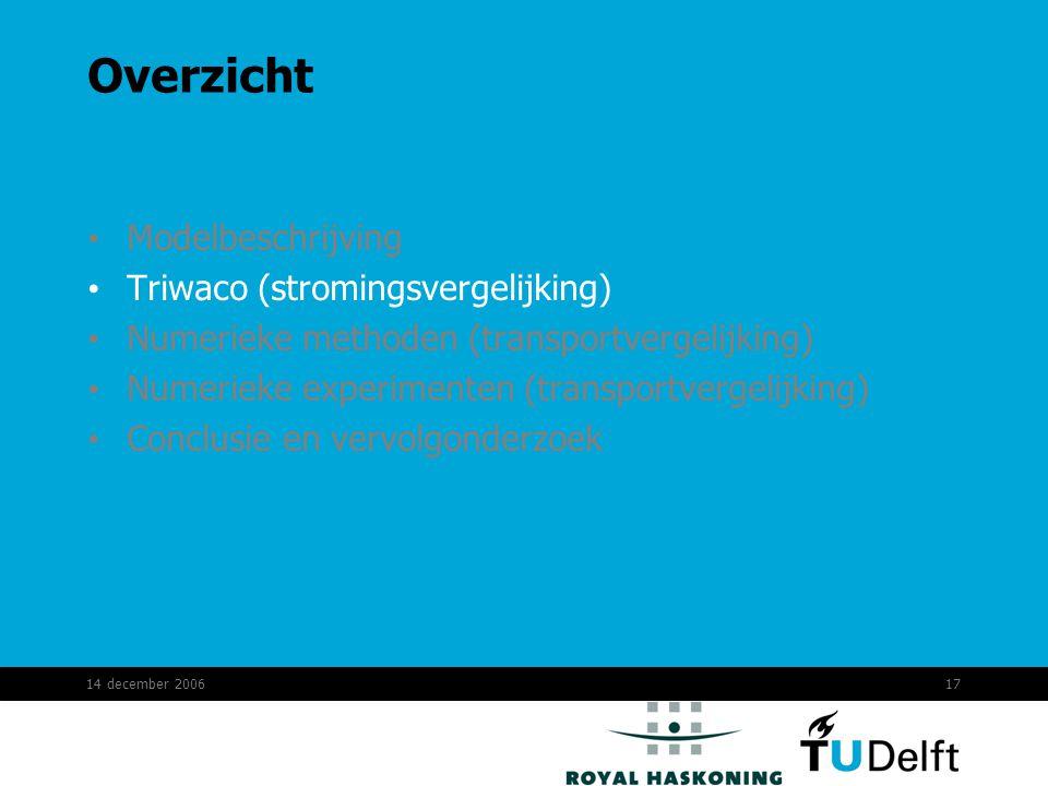 14 december 200617 Overzicht Modelbeschrijving Triwaco (stromingsvergelijking) Numerieke methoden (transportvergelijking) Numerieke experimenten (transportvergelijking) Conclusie en vervolgonderzoek