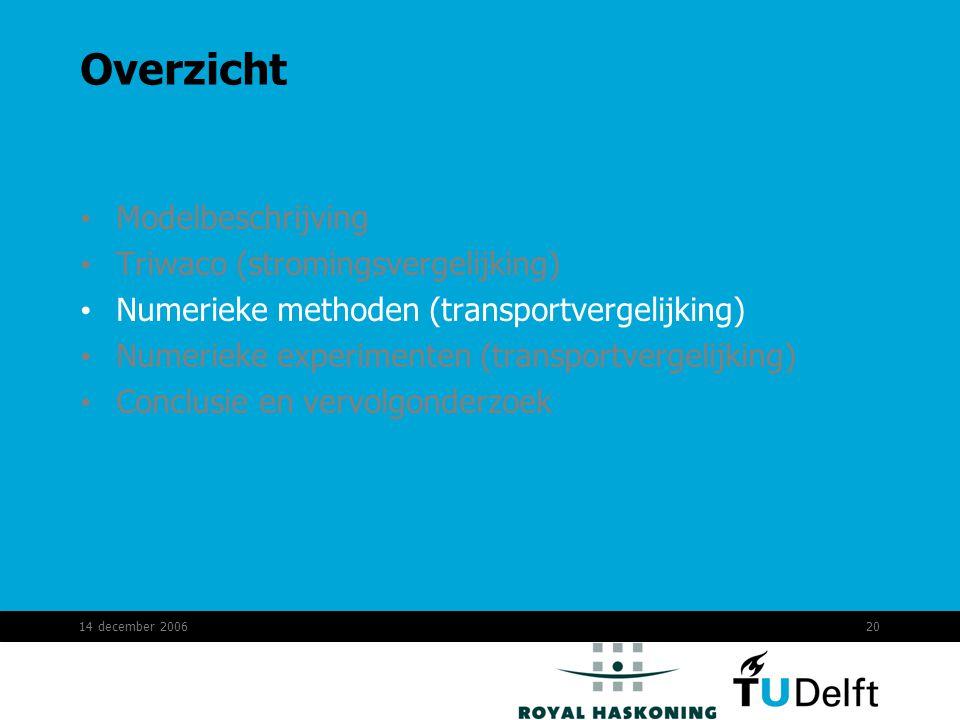 14 december 200620 Overzicht Modelbeschrijving Triwaco (stromingsvergelijking) Numerieke methoden (transportvergelijking) Numerieke experimenten (transportvergelijking) Conclusie en vervolgonderzoek