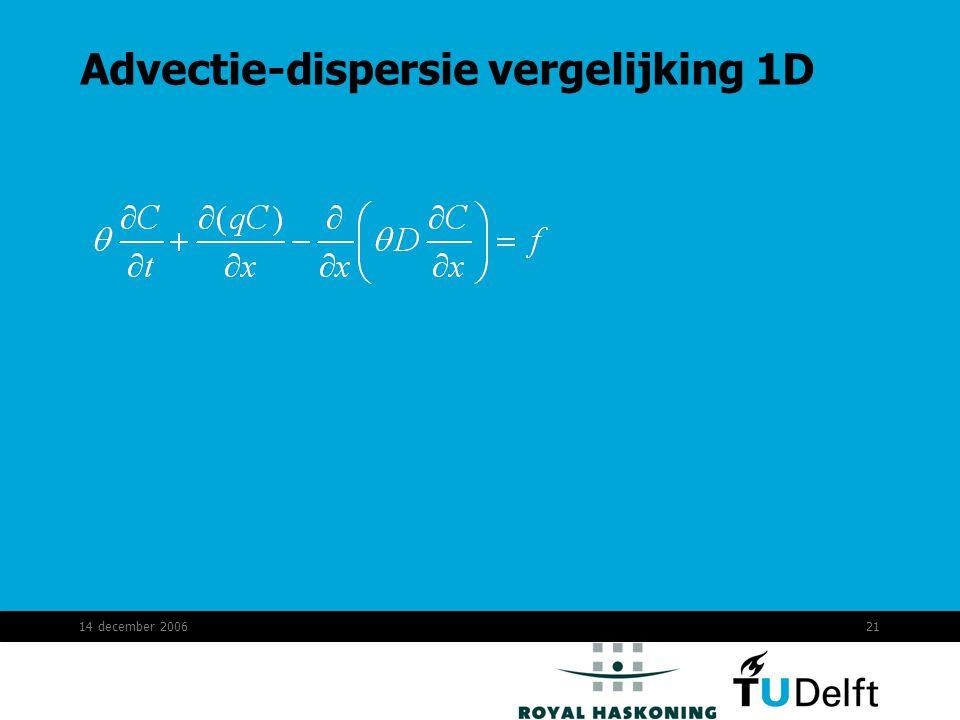 14 december 200621 Advectie-dispersie vergelijking 1D