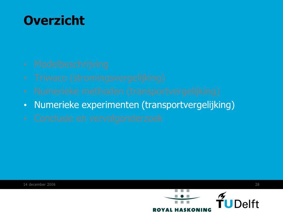 14 december 200628 Overzicht Modelbeschrijving Triwaco (stromingsvergelijking) Numerieke methoden (transportvergelijking) Numerieke experimenten (transportvergelijking) Conclusie en vervolgonderzoek