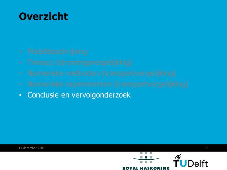 14 december 200633 Overzicht Modelbeschrijving Triwaco (stromingsvergelijking) Numerieke methoden (transportvergelijking) Numerieke experimenten (transportvergelijking) Conclusie en vervolgonderzoek