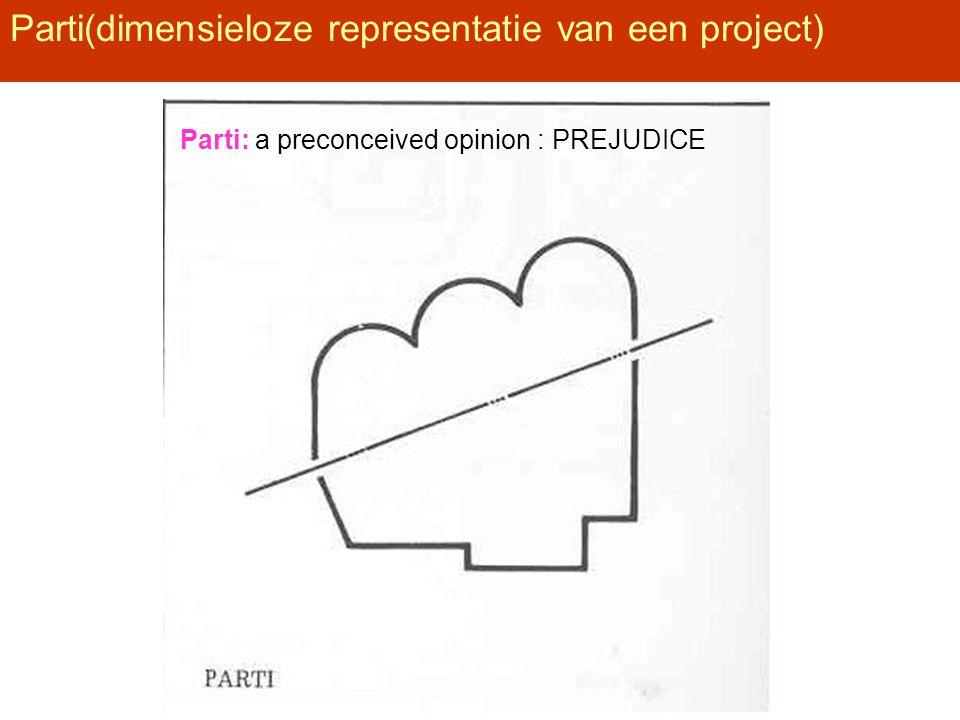 Parti(dimensieloze representatie van een project) Parti: a preconceived opinion : PREJUDICE