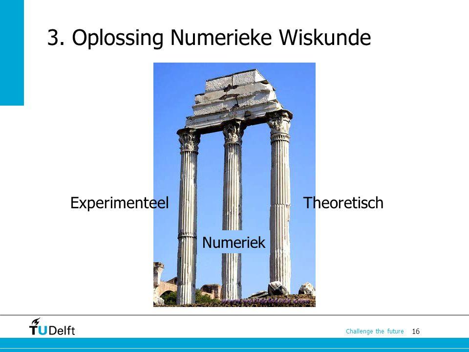 16 Challenge the future 3. Oplossing Numerieke Wiskunde TheoretischExperimenteel Numeriek